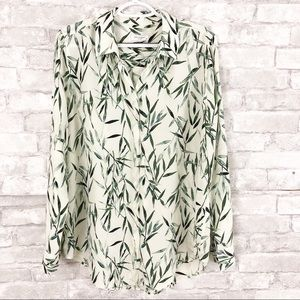 Equipment Femme Green Leaf Print Silk Blouse